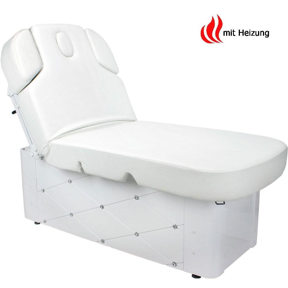 Elektrische Massageliege Wellnessliege 003370-3H Weiß mit Heizung