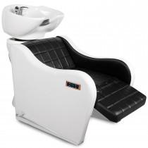 252259 Friseurwaschsessel elektrisch mit Rückenmassagefunktion schwarz / weiß