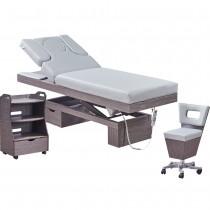 923815 Massagekabine Wellnessliege, Beistelltisch, Arbeitsstuhl grau